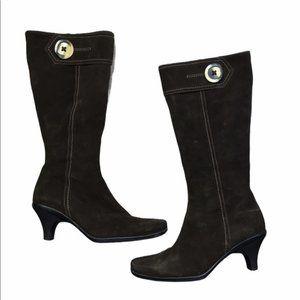 LA CANADIENNE Brown Suede Kitten Heel High Boots